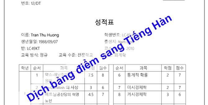 Dịch bảng điểm sang Tiếng Hàn