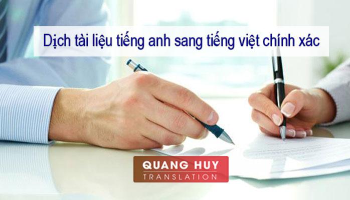 Dịch Tiếng Anh Sang Tiếng Việt Chuẩn tại Hà Nội