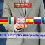 Dịch tài liệu tiếng Anh chuyên ngành