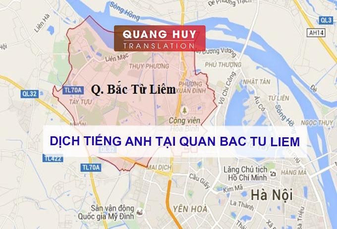 Dịch tiếng anh Quận Bắc Từ Liêm, Hà Nội