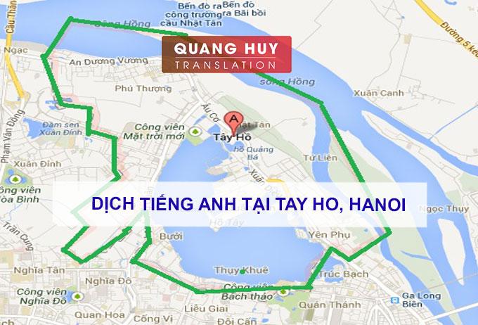 Dịch tiếng anh Quận Tây Hồ, Hà Nội