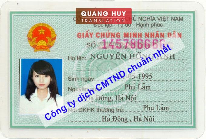 Dịch CMTND sang tiếng Hàn Quốc nhanh chóng