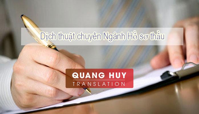 Dịch hồ sơ thầu, Dịch thuật chuyên ngành hồ sơ thầu
