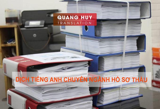 Dịch tiếng Anh chuyên ngành hồ sơ thầu