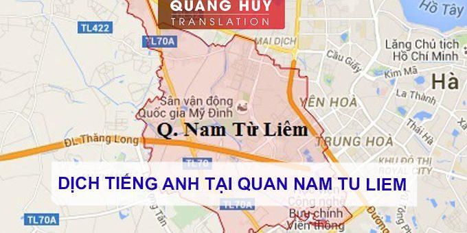 Dịch tiếng anh Quận Nam Từ Liêm, Hà Nội